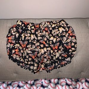 Pants - Black Butterfly Shorts